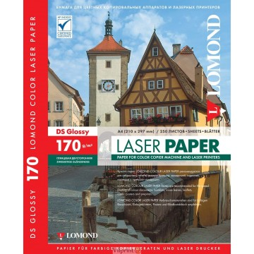 Lomond A4, 170g/m2, 250 lapų, dvipusis blizgus fotopopierius spalvotiems lazeriniams spausdintuvams (CLC Paper for color laser printers Glossy DS / kodas: 0310241)