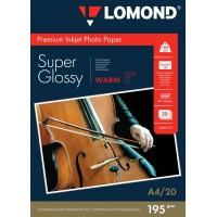 """Lomond A4, 195g/m2, 20 lapų, """"Premium"""" itin blizgus šilto atspalvio vienpusis fotopopierius (Premium Photo Inkjet Paper Super Glossy Warm / kodas : 1101111)"""