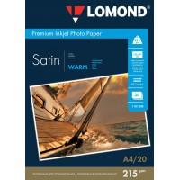 """Lomond A4, 215g/m2, 20 lapų, """"Premium"""" vienpusis šilto atspalvio atlasinis fotopopierius  (Premium Photo Inkjet Paper Satin Warm double-sided / kodas : 1101308)"""