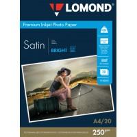 """Lomond A4, 250g/m2, 20 lapų, """"Premium"""" vienpusis šviesus atlasinis fotopopierius (Premium Photo Inkjet Paper Satin Bright / kodas : 1103201)"""