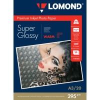 """Lomond A3, 295g/m2, 20 lapų, """"Premium"""" vienpusis šilto atspalvio itin blizgus fotopopierius (Premium Photo Inkjet Paper Super Glossy Warm / kodas : 1108102)"""