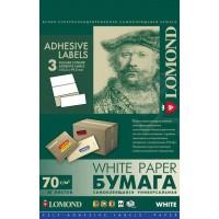Lomond A4, 70g/m2, 50 lapų, 3 etikitės lape (210 x 99mm) lipnus popierius visiems spausdintuvams (3 Labels / kodas 2100015)