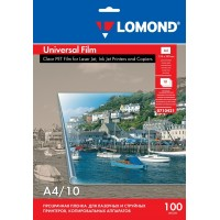 Lomond A4, 100mic, 10 lapų, skaidri universali plėvelė rašaliniams, lazeriniams spausdintuvams (PET Film universal inkjet/laser printers, strip short side / kodas 0710421)