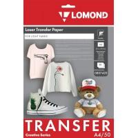 Lomond A4, 50 lapų, termopernešimo popierius lazeriniams spausdintuvams, skirta vaizdo perkėlimui ant šviesios tekstilinės medžiagos (Thermotransfer Laser Paper for Light Cloth / kodas 0807420)