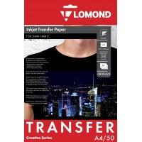 Lomond A4, 50 lapų, termopernešimo popierius rašaliniams spausdintuvams, skirtas vaizdo perkėlimui ant tamsios tekstilinės medžiagos (Thermotransfer Inkjet Paper for Dark Fabrics Economy / kodas 0808425)