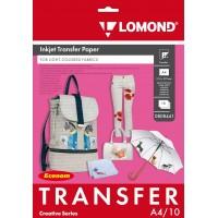 Lomond A4, 10 lapų, termopernešimo popierius rašaliniams spausdintuvams, skirtas vaizdo perkėlimui ant šviesios tekstilinės medžiagos (Thermotransfer Inkjet Paper for Light Fabrics Economy / kodas 0808441)