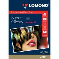 "Lomond A3, 260g/m2, 20 lapų, ""Premium"" vienpusis šviesus itin blizgus fotopopierius  (Premium Photo Inkjet Paper Super Glossy Bright / kodas: 1103130)"