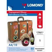 Lomond A4, 100mic, 10 lapų, lipni, skaidri plėvelė rašaliniams spausdintuvams (PET Film for inkjet printers, clear, self adhesive / kodas 1708411)