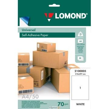 Lomond A4, 70g/m2, 50 lapų, 1 etikitė lape (210 x 297mm) lipnus popierius visiems spausdintuvams (Self-Adhesive Universal, 1 Label / kodas 2100005)