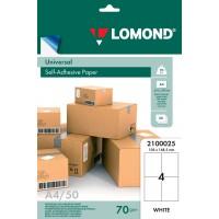 Lomond A4, 70g/m2, 50 lapų, 4 etikitės lape (105 x 148,5mm) lipnus popierius visiems spausdintuvams (Self-Adhesive Universal, 4 Labels / kodas 2100025)