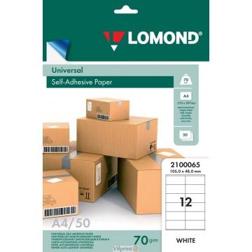 Lomond A4, 70g/m2, 50 lapų, 12 etikitės lape (105 x 48mm) lipnus popierius visiems spausdintuvams (Self-Adhesive Universal, 12 Labels / kodas 2100065)