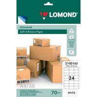 Lomond A4, 70g/m2, 50 lapų, 24 etikitės lape (70 x 37mm) lipnus popierius visiems spausdintuvams (Self-Adhesive Universal, 24 Labels / kodas 2100165)