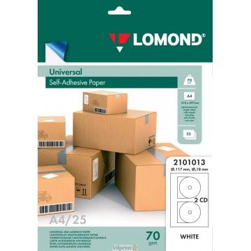 Lomond lipnus, universalaus 70 g/m2 popieriaus lipdukas CD/DVD diskams, A4 lape 2 lipdukai, įšor.skersm.D117mm/vid.skersm.D18mm (kodas: 2101013)