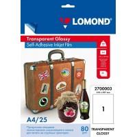 Lomond A4, 100mic, 25 lapai, skaidri, lipni PET plėvelė rašaliniams spausdintuvams (Lomond PET Film for inkjet printers, clear, self adhesive / kodas 2700003)