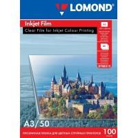 Lomond A3, 100mic, 50 lapų, skaidri plėvelė rašaliniams spausdintuvams (PET Film for inkjet printers / kodas 0708315)