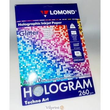Lomond A4, 260g/m2, 10 lapų, Hologram Glitter holografinis fotopopierius, raš. spausdintuvui (kodas: 0903041)