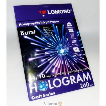 Lomond A4, 260g/m2, 10 lapų, Hologram Burst holografinis fotopopierius, raš. spausdintuvui (kodas: 0905041)