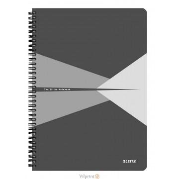 Bloknotas A4/90l. spiralė šone, su langeliais, pilkas, Leitz Office Notebook