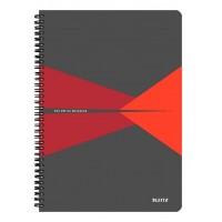 Bloknotas A4/90l. spiralė šone, su langeliais, raudonas, Leitz Office Notebook
