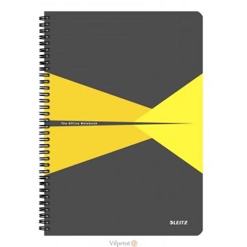 Bloknotas A4/90l. spiralė šone, su langeliais, geltonas, Leitz Office Notebook