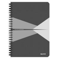 Bloknotas A5/90l. spiralė šone, su langeliais, pilkas, Leitz Office Notebook