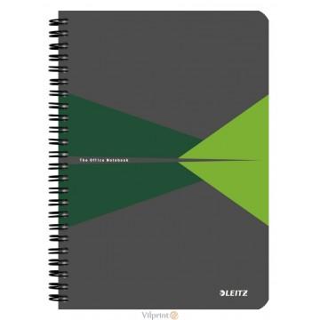 Bloknotas A5/90l. spiralė šone, su langeliais, žalias, Leitz Office Notebook