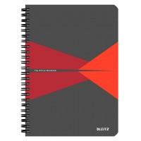 Bloknotas A5/90l. spiralė šone, su langeliais, raudonas, Leitz Office Notebook