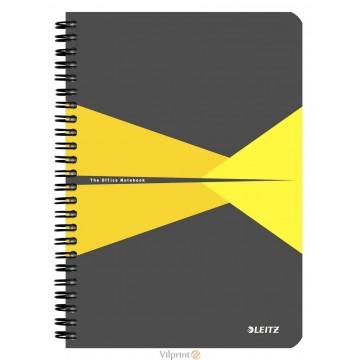 Bloknotas A5/90l. spiralė šone, su langeliais, geltonas, Leitz Office Notebook