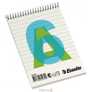Bloknotas A6/80l. spiralė viršuje, su linijomis, Esselte Spiral Pad