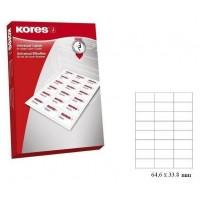 Lipnios etiketės A4, 100 lapų, 24 etiketės lape po 64,6x33,8 mm. Kores