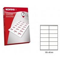 Lipnios etiketės A4, 100 lapų, 12 etikečių lape po 105x48 mm. Kores