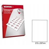 Lipnios etiketės A4, 100 lapų, 1 etiketė lape po 210x297 mm. Kores