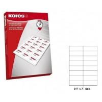 Lipnios etiketės A4, 100 lapų, 16 etikečių lape po 105x37 mm. Kores