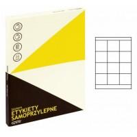 Lipnios etiketės A4, 100 lapų, 12 etikečių lape po 70x67,7 mm. Grand