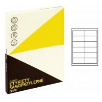 Lipnios etiketės A4, 100 lapų, 12 etikečių lape po 97x42,3 mm. Grand