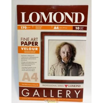 Lomond A4, 170g/m2, 10 lapų, Velour Natural White DS, dvipusis veliūro tekstūros fotopopierius rašaliniams sp. (0911041)