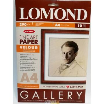 Lomond A4, 290 g/m2, 10 lapų, Velour Bright Natural White Archive, vienpusis veliūro tekstūros fotopopierius raš. sp. (0911341)