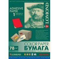 Lomond A4, 78g/m2, 50 lapų, 1 etikitė lape (210 x 297mm) neoninės raudonos sp. lipnus popierius visiems spausdintuvams (2010005)