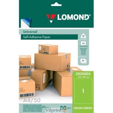 Lomond A4, 78g/m2, 50 lapų, 1 etikitė lape (210 x 297mm)  neoninės žalios sp. lipnus popierius visiems spausdintuvams (2020005)