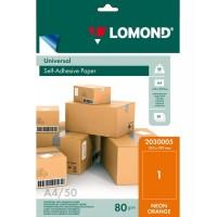 Lomond A4, 78g/m2, 50 lapų, 1 etikitė lape (210 x 297mm)  neoninės oranžinės sp. lipnus popierius visiems spausd. (2030005)