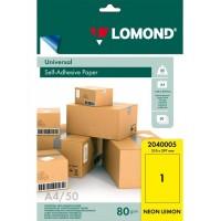 Lomond A4, 78g/m2, 50 lapų, 1 etikitė lape (210 x 297mm)  neoninės citrinos sp. lipnus popierius visiems spausd.  (2040005)