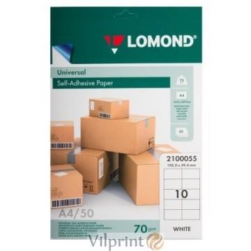 Lomond A4, 70g/m2, 50 lapų, 10 etikečių lape (105 x 59,40mm) lipnus popierius visų tipų spausdintuvams (2100055)