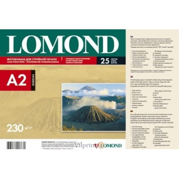 Lomond A2, 230g/m2, 25 lapų, venpusis blizgus fotopopierius rašaliniams sp. (Single Sided Glossy Inkjet Photopaper / 0102141)