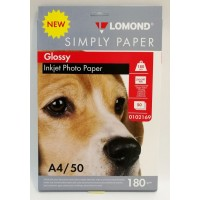 Lomond A4, 180g/m2, 50 lapų, ECONOM vienpusis blizgus fotopopierius raš. sp.  (Single Sided Glossy Inkjet Photopaper / 0102169)