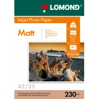 Lomond A2, 230g/m2, 25 lapų, vienpusis matinis fotopopierius (Single Sided Matt Inkjet Photopaper / kodas: 0102139)