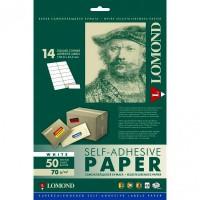 Lomond A4, 70g/m2, 50 lapų, 14 etikitės lape (105 x 41mm) lipnus popierius visiems spausdintuvams (14 Labels / kodas 2100085)