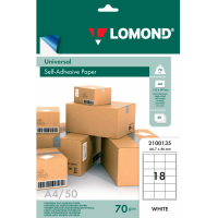 Lomond A4, 70g/m2, 50 lapų, 18 etikitės lape (66.7 x 46mm) lipnus popierius visiems spausdintuvams (18 Labels / kodas 2100135)