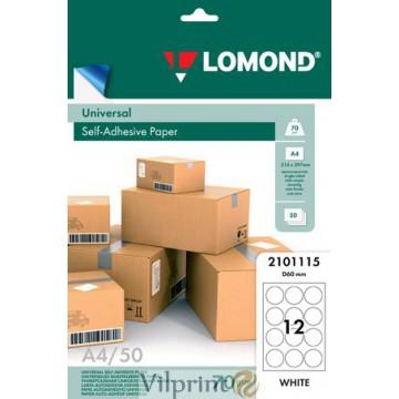 Lomond A4, 70g/m2, 50 lapų, 12 apskritimo formos / 60mm skersm. etiketės lape, lipnus popierius visiems spausdintuvams (12xd 60mm Labels / kodas 2101115)