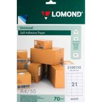Lomond A4, 70g/m2, 50 lapų, 21 etikitės lape (70mm x 41mm) lipnus popierius visiems spausdintuvams (Self-Adhesive Universal address label / kodas 2100155)