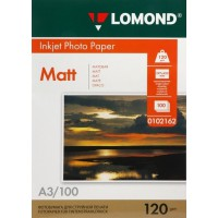 Lomond A3, 120g/m2, 100 lapų, vienpusis matinis fotopopierius (Single Sided Matt Inkjet Photopaper / kodas: 0102162)